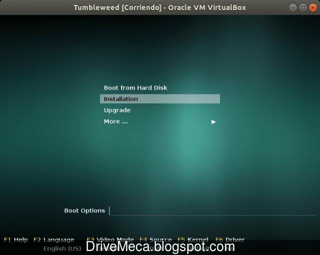 En el menu de OpenSUSE ingresamos por la segunda opcion a instalar
