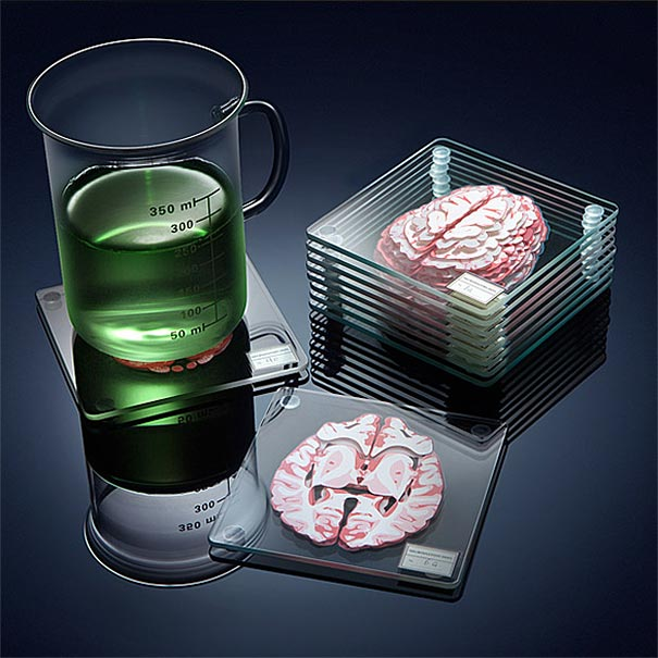 Posavasos de muestras de cerebro apilables muestran una vista en 3D del cerebro humano