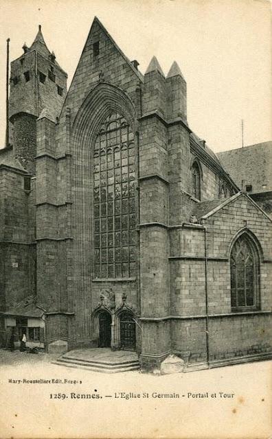 Le portail de l'Église Saint-Germain vers 1900 (...d'un point de vue inouï !)