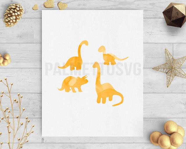 Dinosaurs orange watercolor clip art svg dxf silhouette cricut downloads