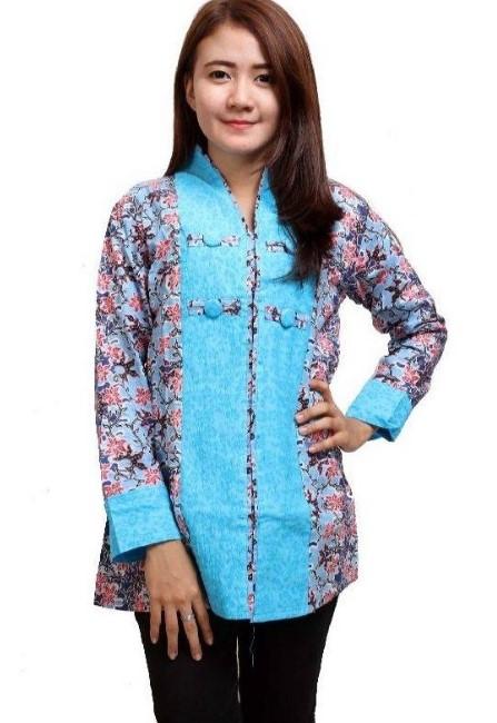 20 Model Baju Batik Kombinasi Polos terbaru 2018