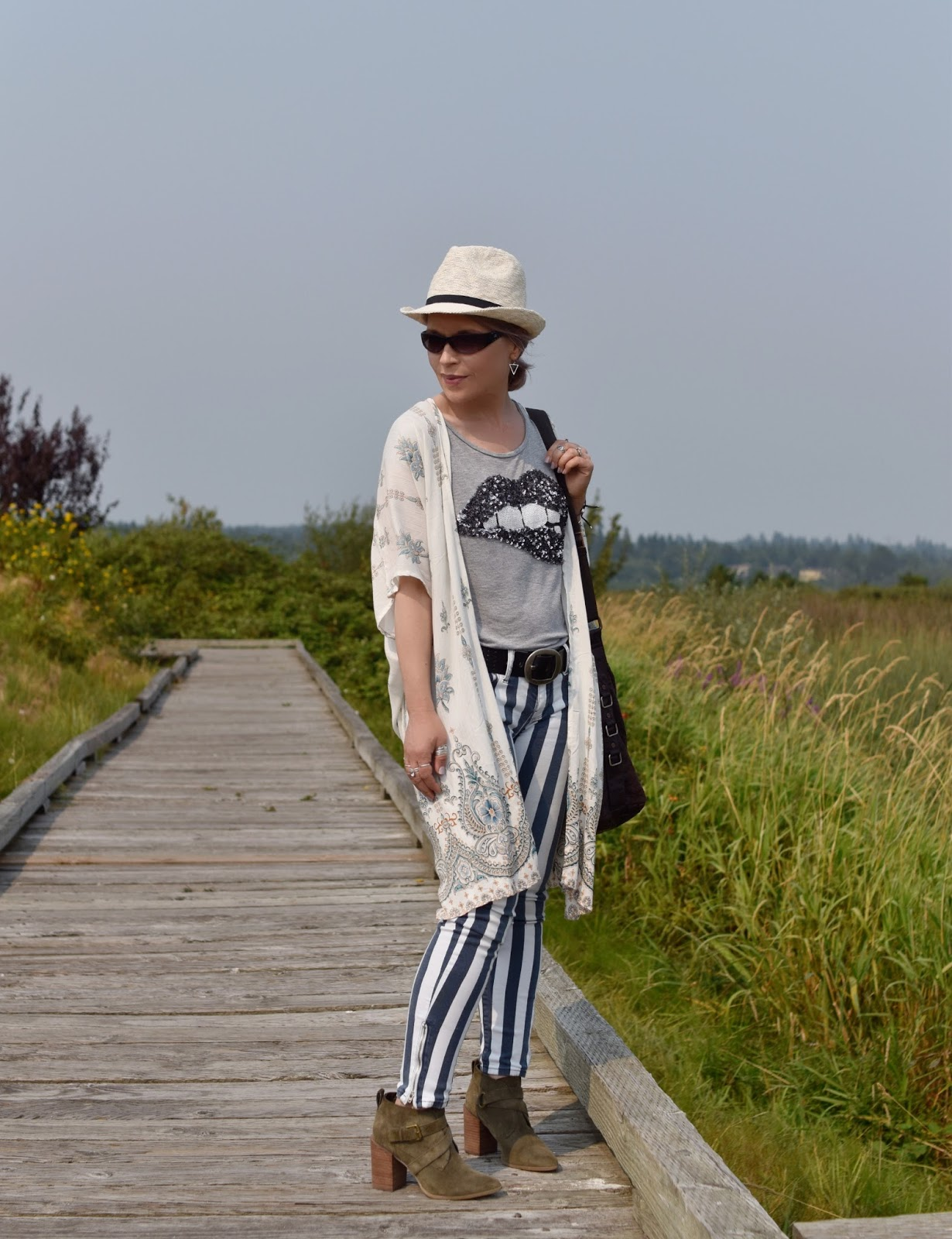 Monika Faulkner personal style inspiration - striped skinny jeans, sequinned tee, ankle boots, damask-patterned kimono, straw fedora