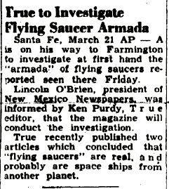 True (Magazine) to Investigate Flying Saucer Armada - Farmington Daily Times, The 3-21-1950