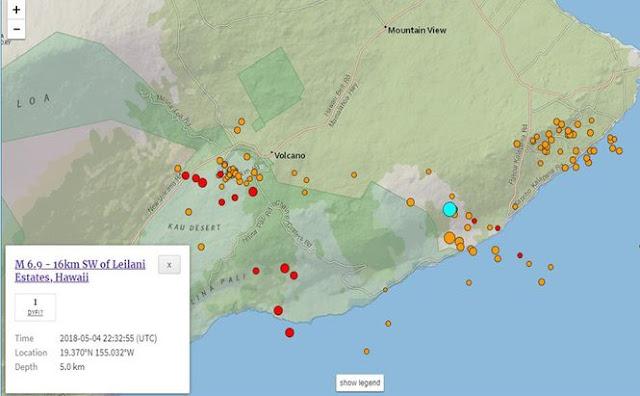 На Гаваях стався найпотужніший за 43 роки землетрус магнітудою 6,9