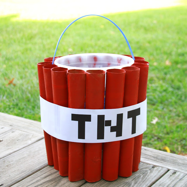 DIY Minecraft Steve Costume with cardboard legs and a TNT candy bucket!  Midwestern Mama