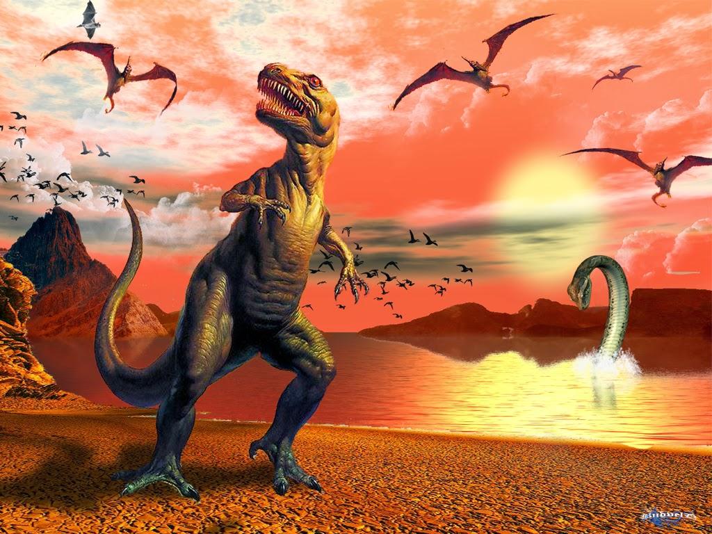 wallpaper dinosaurus di senja hari | gambar kartun lucu