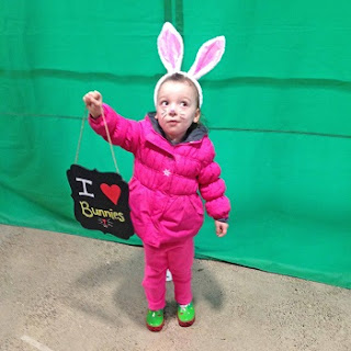 in front of the green screen at Eastman Nature Center for the EGGstravaganza Photo by 3 Rivers Park District