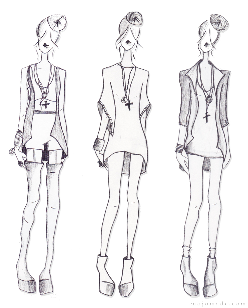 Mojomade fashion sketches my personal croquis for Fashion designer drawing template