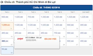 Giá vé máy bay tết đi Đà Lạt từ Tp Hồ Chí Minh