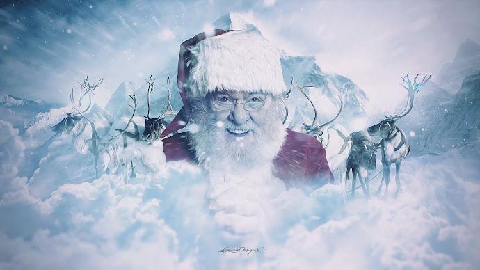 Wallpaper: Santa Claus and His Reindeer