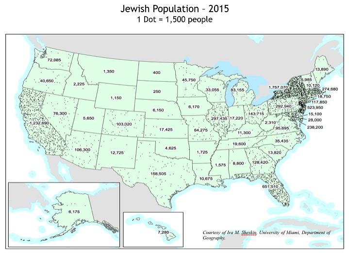 Jewish population by State (2015)