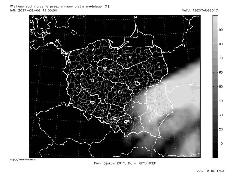 Ostatnia przed publikacją tekstu prognoza modelu GFS - zachmurzenie piętra średniego 7 sierpnia o godz. 18:00 CEST. Źródło: meteomodel.pl