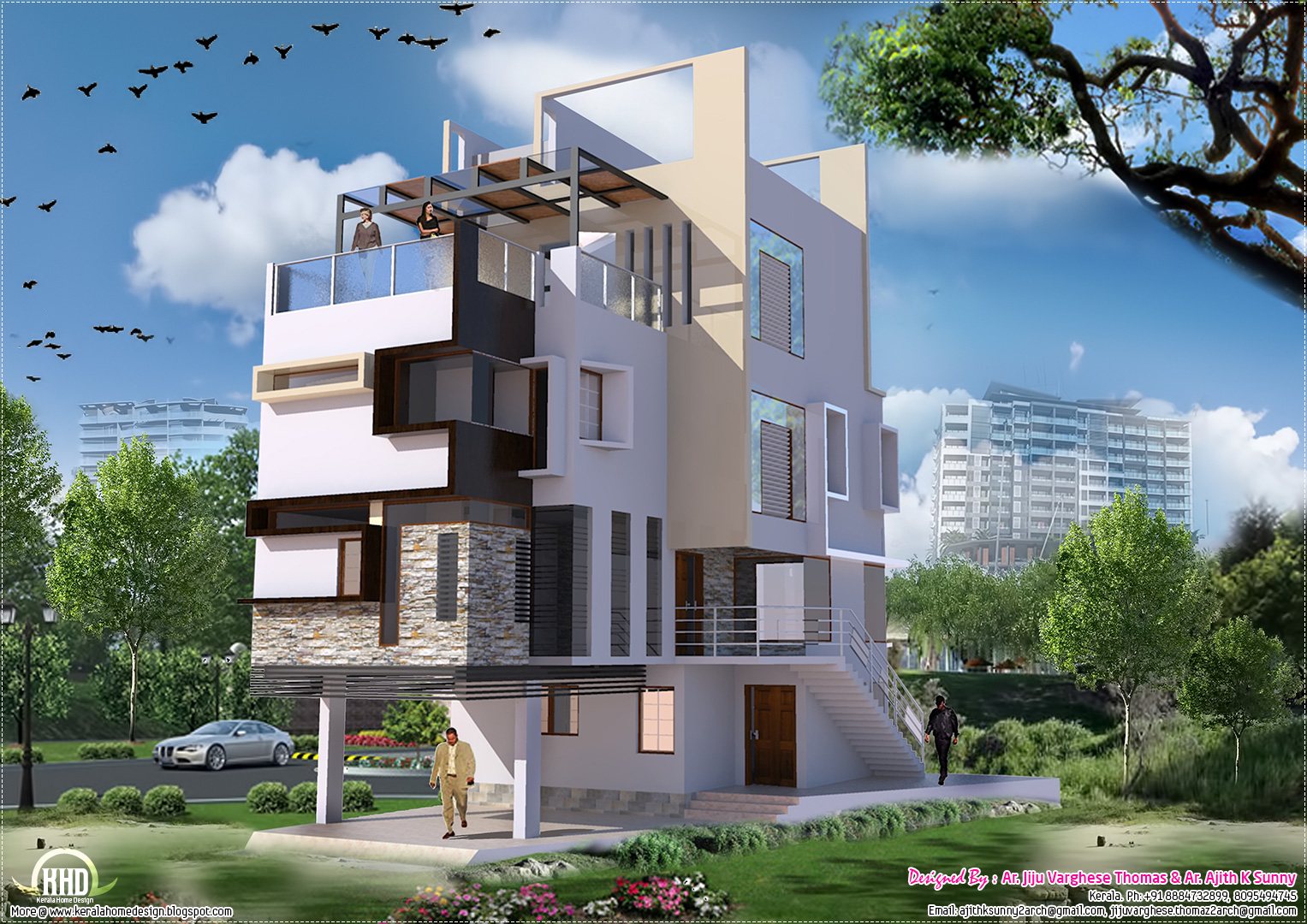 Contemporary villa in 2700 kerala home design for 300 sq ft house plans in india