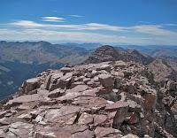The narrow summit of Pyramid Peak