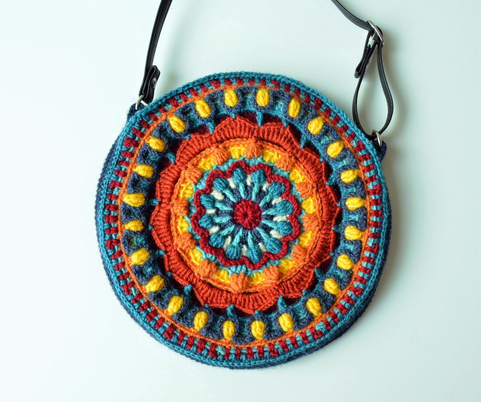 Colorful mandala bag made in overlay crochet