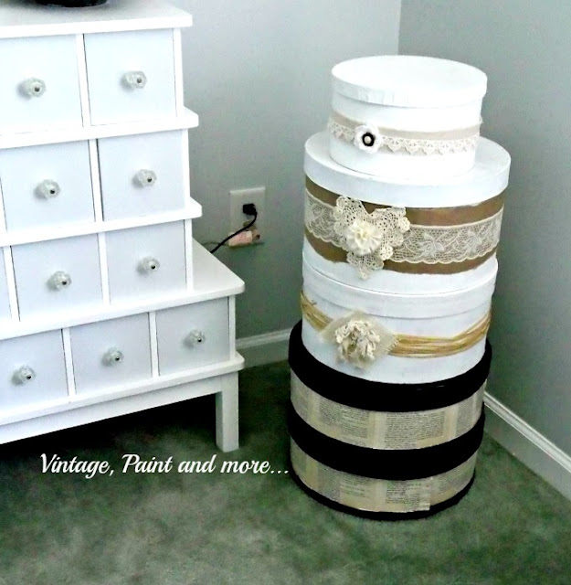 diy embellished hat boxes and cheese boxes for craft room organization on a budget