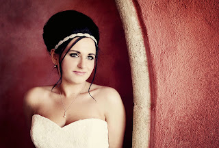 Scottish Wedding. bride with brunette hair with bridal beehive
