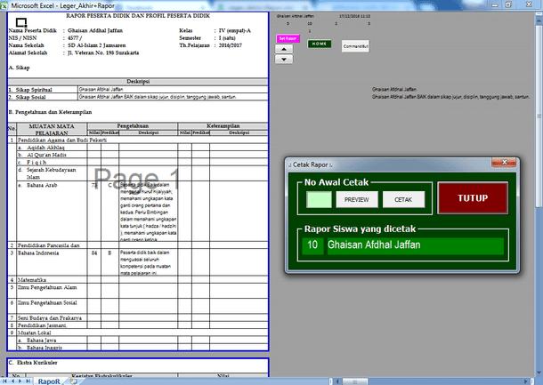 Contoh Aplikasi Raport dan Leger Akhir SD MI Format Microsoft Excel