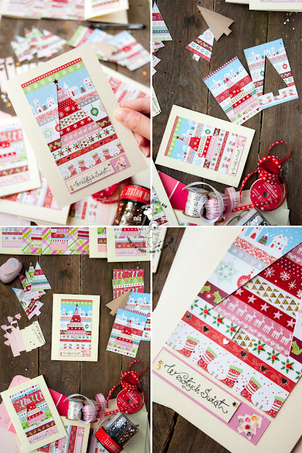 jak samodzielnie zrobić kartkę na święta, krok po kroku co będzie potrzebne do wykonania bożonarodzeniowej kartki handmade