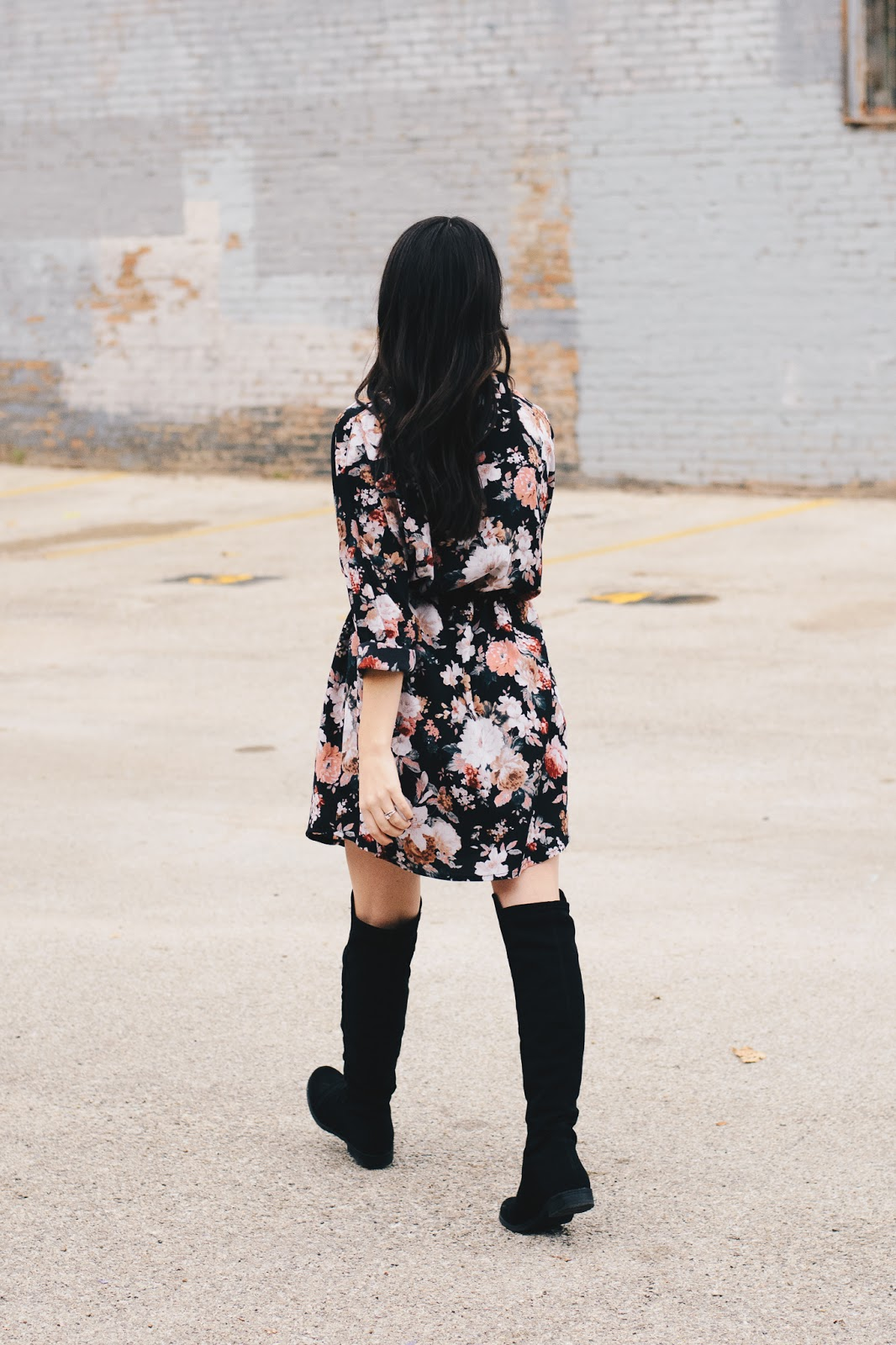 Wearing Floral Dress and OTK Boots