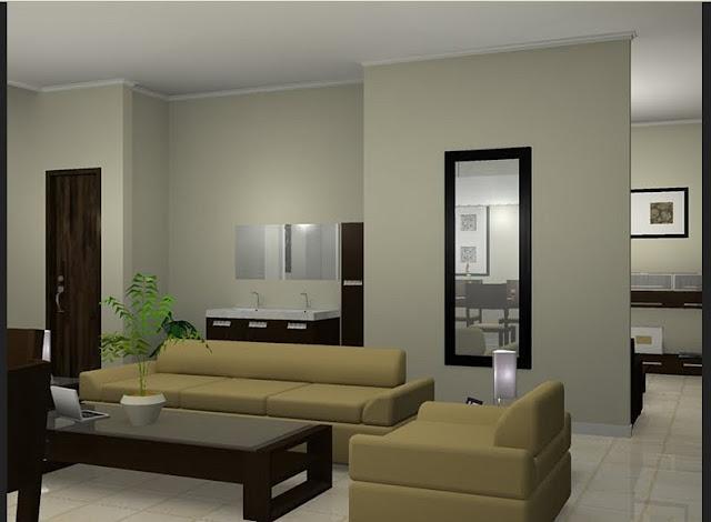 Contoh desain ruang keluarga pada desain rumah minimalis type 36