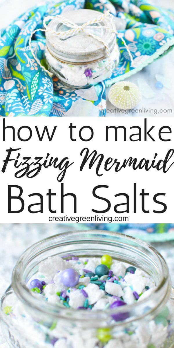 How to make DIY mermaid-inspired fizzing bath salts. This easy recipe uses essential oils, baking soda, citric acid and a secret ingredient to make a fun, fizzing bath salt recipe that is perfect ffor a DIY spa day. This Lush inspired experience will help you unwind. These homemade bath salts make a great gift as well! #creativegreenliving #lush #bathsalts #bathbomb #bathfizz #essentialoils #DIYbeauty #DIYspa #giftideas