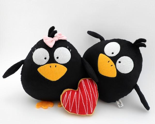 Pareja de boda personalizada, cuervos de peluche guyuminos regalo aniversario amor pájaro ave kawaii tierno gotico dark