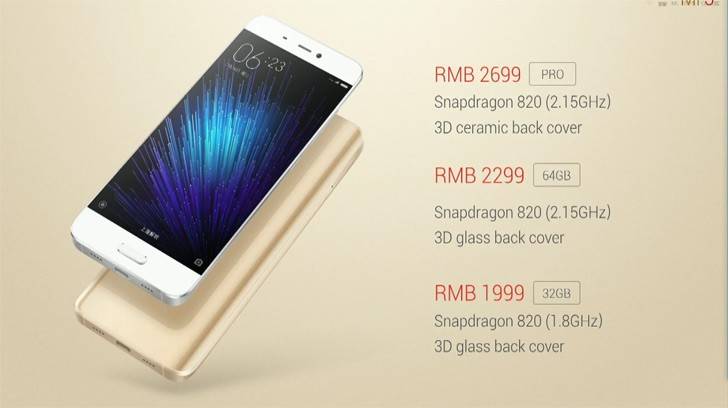 3a Xiaomi Mi 5 prices start at $300, will be available on March 1 Root