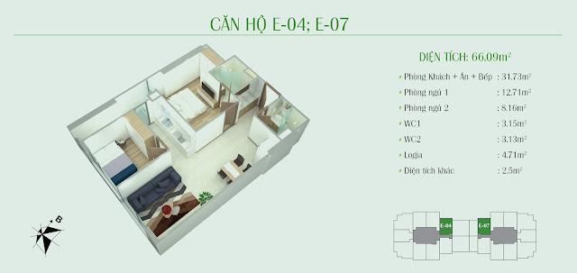 Thiết kế căn hộ 66m2 - 02 phòng ngủ