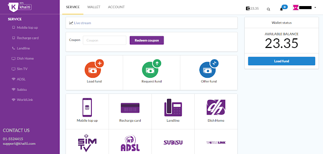 khalti nepalese digital wallet dashboard