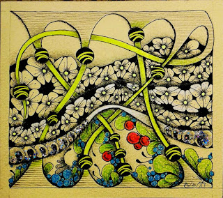 Finish My Tile Challenge # 176 with Patterns: Patience, Flux, Tipple, Balls, Bridgen,  Pokeroot, Fescu, and lines