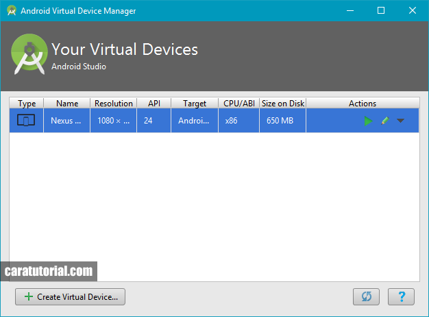 Your Android Virtual Device (AVD)
