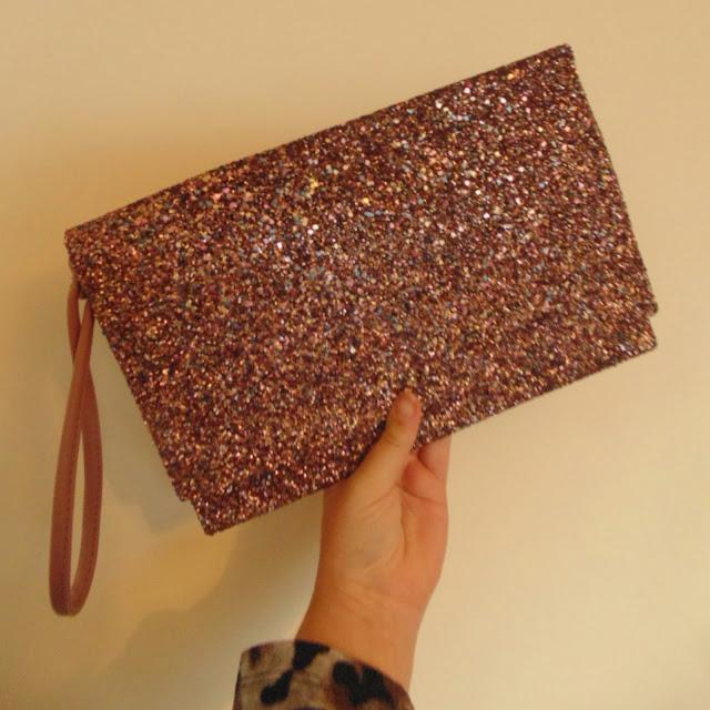 Primark glitter clutch bag