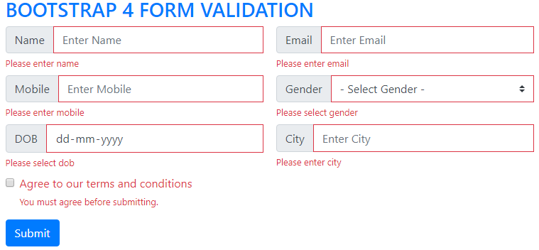 Bootstrap 4 form validation
