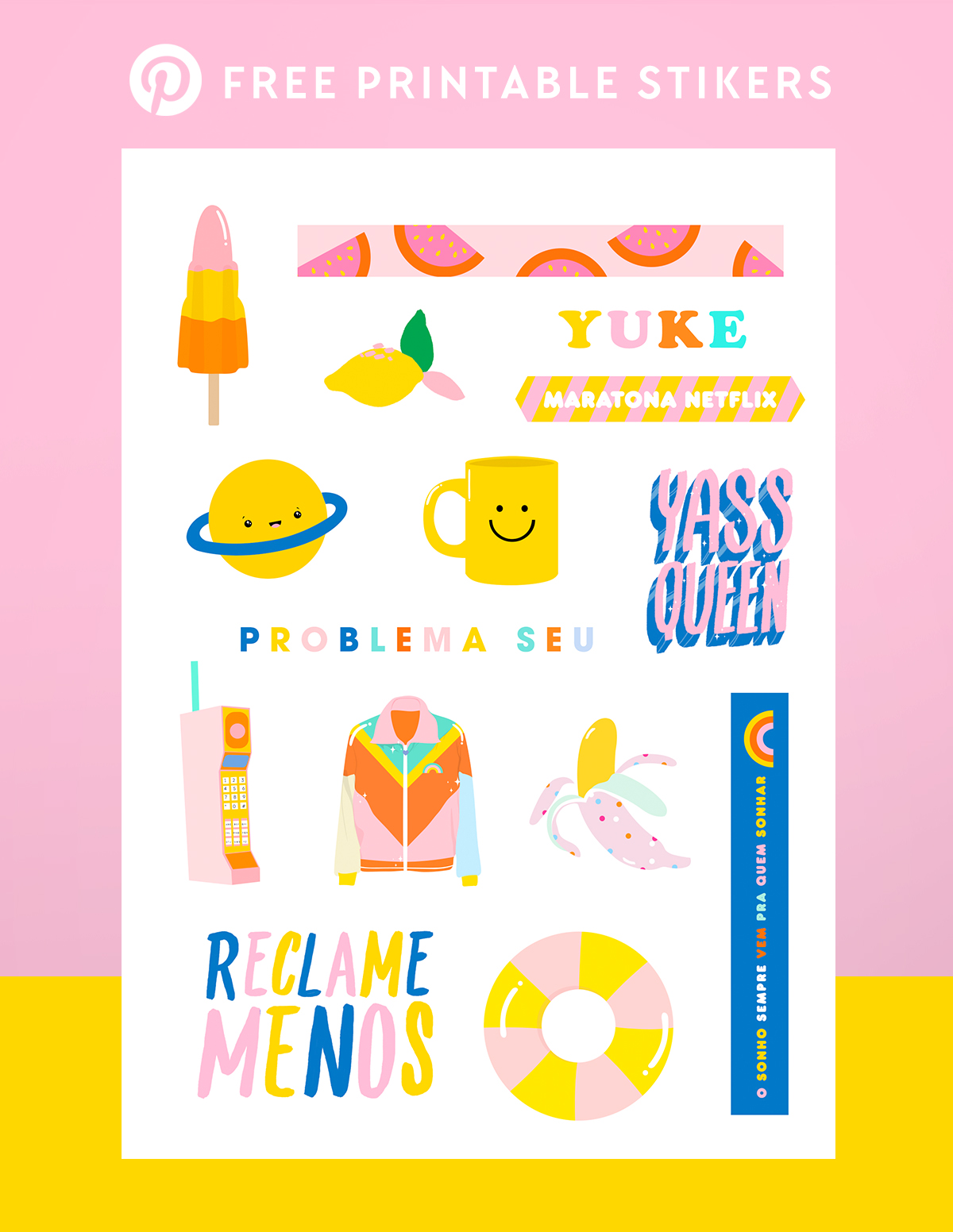 cartela de adesivos gratis para download para planner bullet journal free printable stickers blog do math