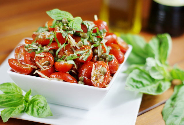 Grape Tomato & Caper Salad with Fresh Basil