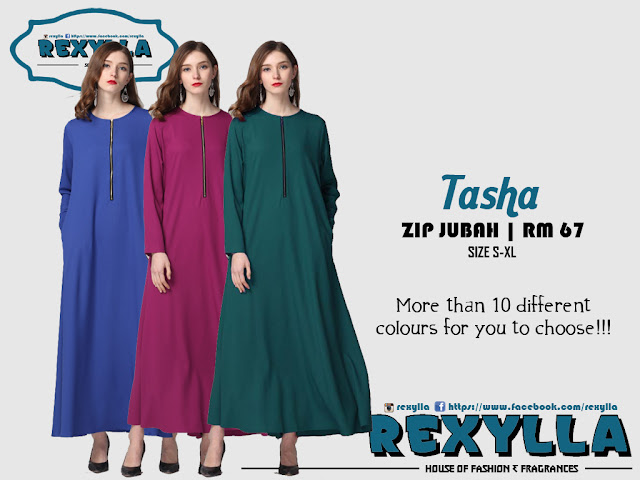 rexylla, basic zip, zip jubah, tasha collection