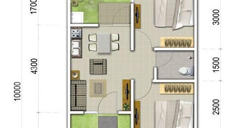 Lingkar Warna 4 Denah Rumah Minimalis Ukuran 6x10 Meter 2 Kamar Tidur 1 Lantai Tampak Depan