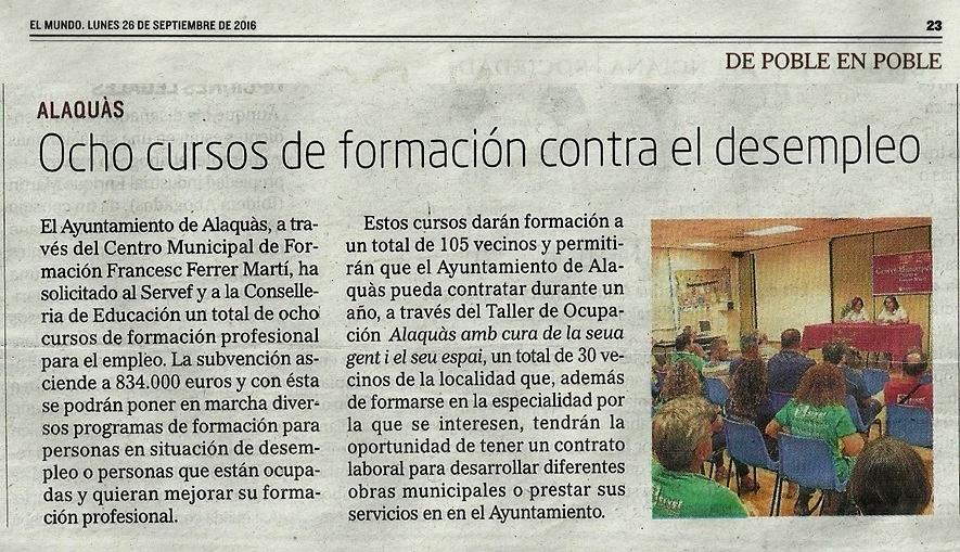 El ayuntamiento de alaquas pide una subvencion de - Trabajo en alaquas ...