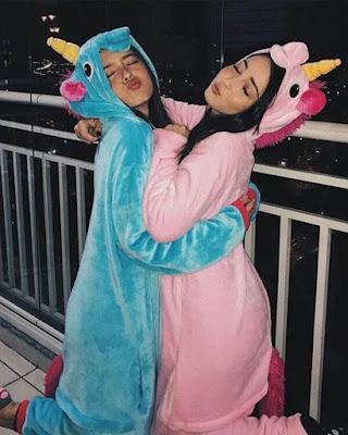 pijamas de unicornio tumblr poses amigas casuales
