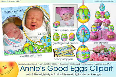"Make Easter ""eggactly"" perfect when your project begins with Annie Lang's clipart!"