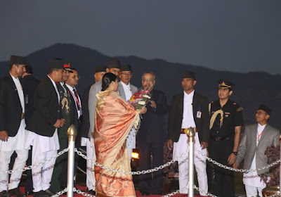indian president Mukherjee returned from Nepal visit
