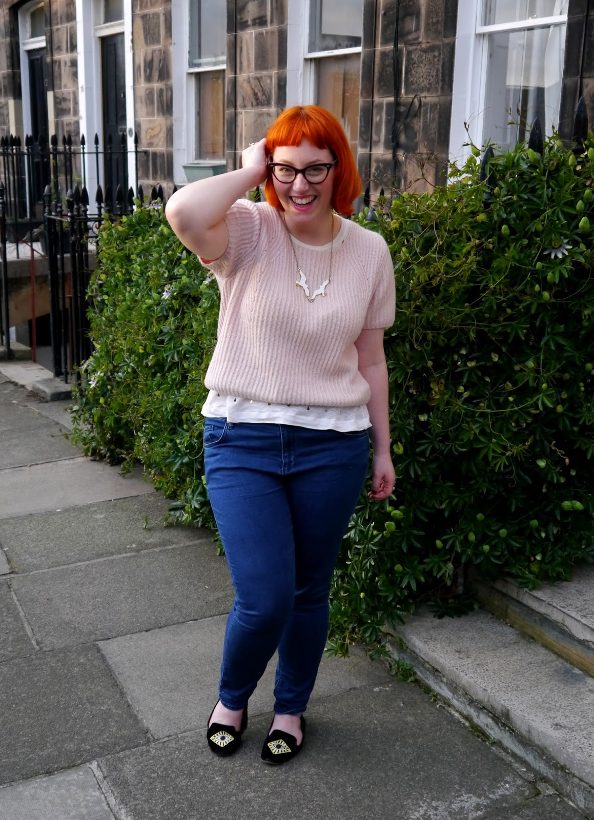 Scottish blogger, red head, red hair, ginger, cate eye glasses, Edinburgh blogger, Edinburgh street style, causal street style, pink topshop jumper, Zara tshirt, Monki shoes, slipper shoes, flat shoes, Topshop jeas, indigo jeans, Karne Mabon seagull necklace, Karen Mabon jewellery, Edinburgh
