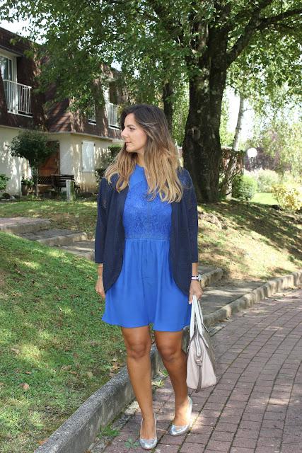 look de rentrée robe bleue grain de malice les petites bulles de ma vie
