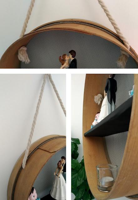 DIY étagère recyclée avec un tamis et une corde