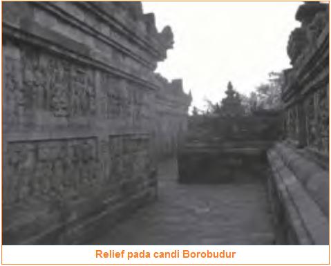 Relief - Pengaruh Hindu-Buddha di Bidang Seni - Pengaruh Hindu-Buddha di Bidang Bahasa Aksara, Teknologi Bangunan, Agama, Seni, Sastra, dan Penanggalan