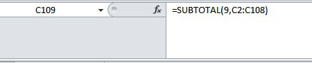 Subtotal function