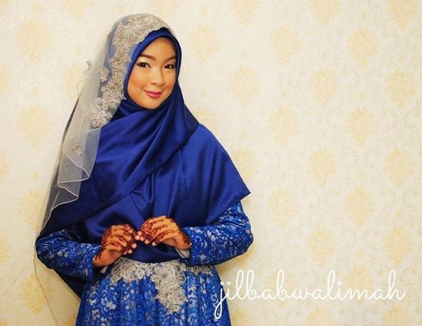 Inspirasi  Hijab Pengantin Muslimah Syari   jilbab walimah