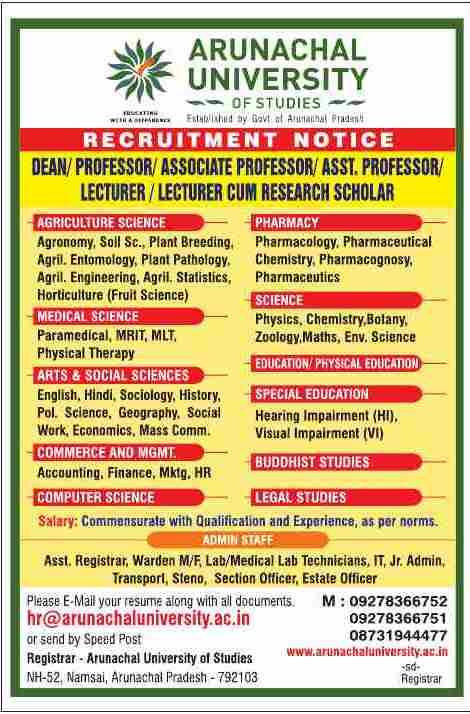 Arunachal University Of Studies Recruitment 2019 1