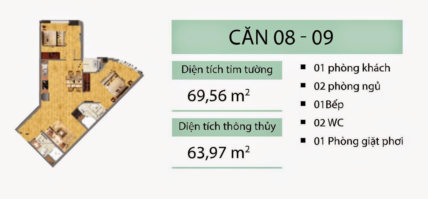 Căn 69,56 m2 CT2B Nghĩa Đô